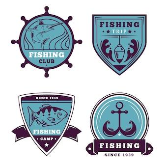 Coleção retrô de distintivos de pesca