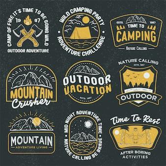 Coleção retrô de emblemas de aventura ao ar livre