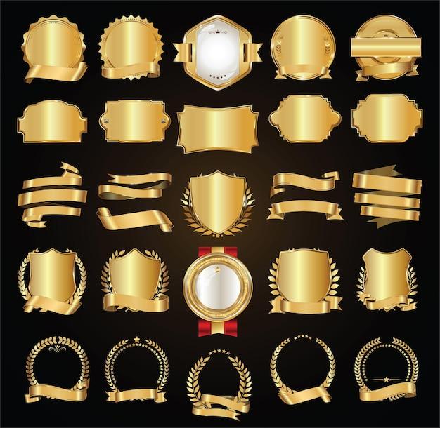 Coleção retro de fitas douradas e etiquetas