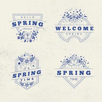 Coleção retrô de rótulo / distintivo de primavera