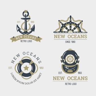 Coleção retro logotipo náutico