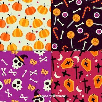 Coleção retro padrão de halloween