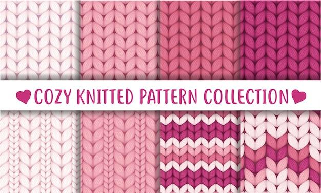 Coleção rosa antiga de padrões sem emenda de lã tricotada