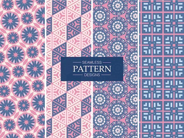 Coleção rosa e azul padrão sem emenda