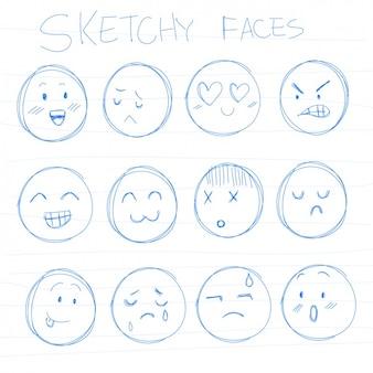 Coleção rostos esboçado