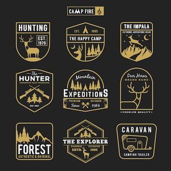 Coleção rótulos de caça