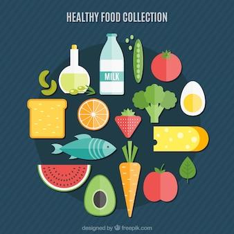 Coleção saudável do alimento no design plano