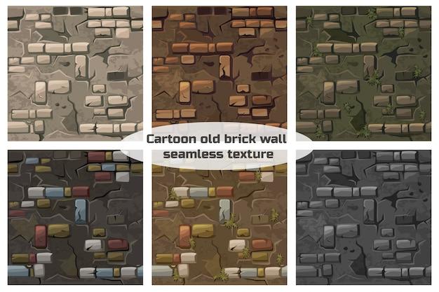 Coleção sem costura padrão textura velha parede de tijolos de crack