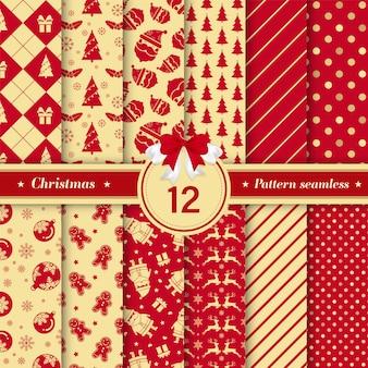 Coleção sem emenda do teste padrão do Feliz Natal na cor vermelha e dourada.