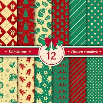 Coleção sem emenda do teste padrão do natal com cores vermelhas e verdes.