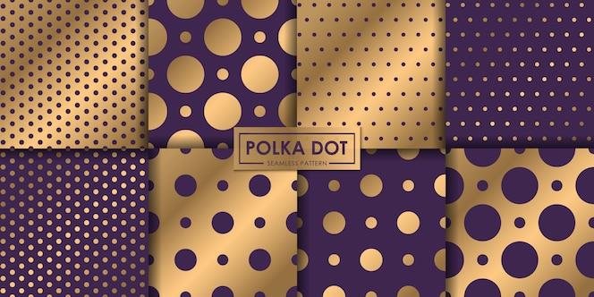 Coleção sem emenda do teste padrão do polkadot luxuoso, fundo abstrato, papel de parede decorativo.