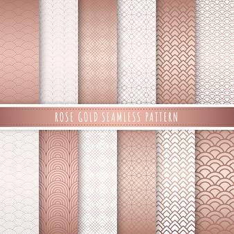 Coleção sem emenda do teste padrão luxuoso do ouro de rosa.