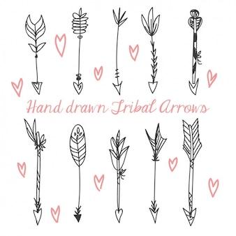 Coleção setas desenhadas mão