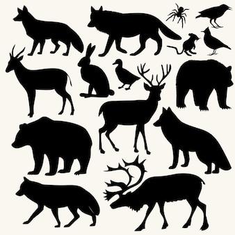Coleção silhueta animal