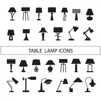 Coleção silhuetas das lâmpadas