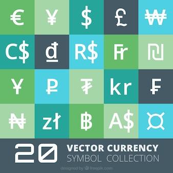 Coleção símbolos de moeda