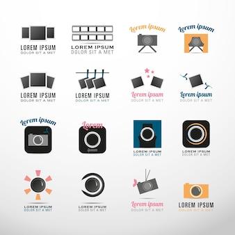 Coleção símbolos fotografia logotipo