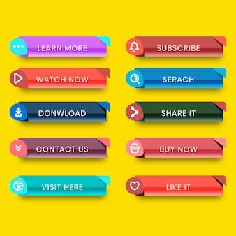 Coleção simples de botões de call-to-action