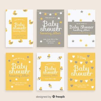 Coleção simples de cartões de chá de bebê