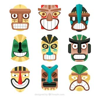 Coleção singular de máscaras tiki planas