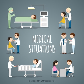 Coleção situações médicas plana