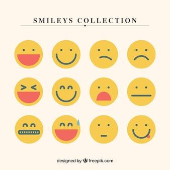 Coleção smiley amarelos