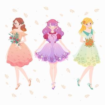 Coleção spring fashion girl Vetor Premium