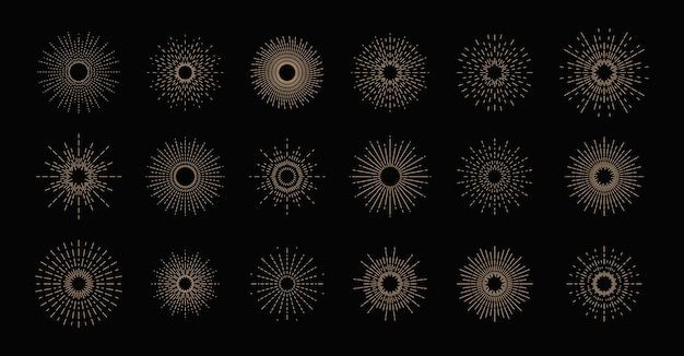 Coleção sunbursts, efeitos de explosão, fogos de artifício, raios negros.
