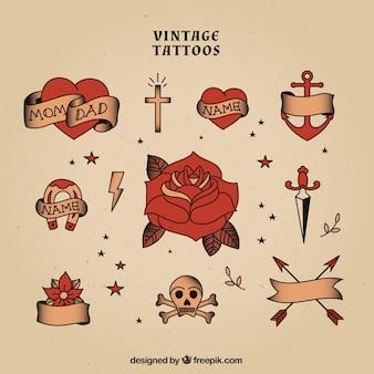 Coleção tatuagens vintage