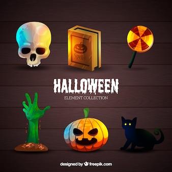 Coleção temática de halloween de atributos realistas