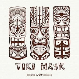 Coleção tradicional de máscara tiki