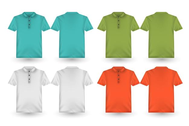 Coleção traseira e frontal de camisas polo