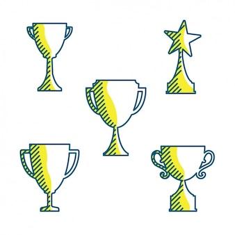 Coleção troféus pintados à mão