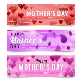 Coleção turva de banners do dia das mães