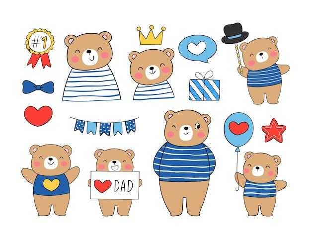 Coleção urso fofo pai e menino para o dia dos pais