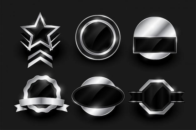 Coleção vazia de etiqueta e emblemas de prata