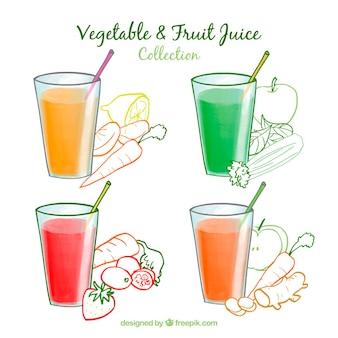 Coleção vegetal e suco de frutas