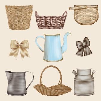 Coleção velha de cesta de palha, pote, vaso, fitas e arcos