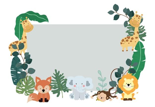 Coleção verde de fundo de safári com macaco, raposa, girafa.