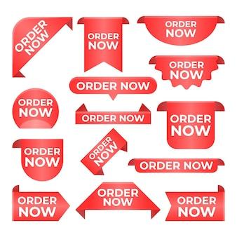 Coleção vermelha do rótulo do pedido agora