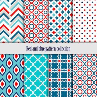 Coleção vermelha e azul de padrões geométricos sem emenda