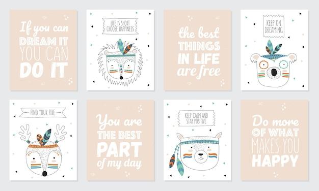 Coleção vetorial de cartões postais com rostos de animais tribais indianos e slogan motivacional