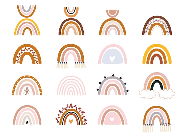 Coleção vetorial desenhada à mão para decoração de berçário com arco-íris fofos em cor pastel