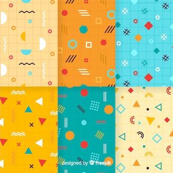 Coleção vibrante de padrão de memphis