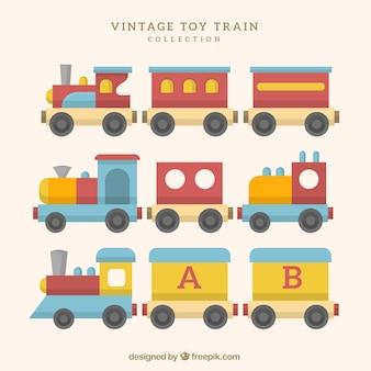 Coleção, vindima, brinquedo, trens
