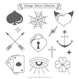 Coleção vintage de belas tatuagens