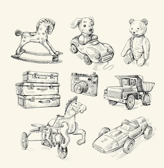 Coleção vintage de brinquedos originais desenhados à mão.