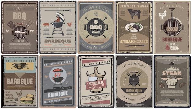 Coleção vintage de brochuras de churrasco com grelhados, salsichas, hambúrgueres, ferramentas e equipamentos para churrasco isolados