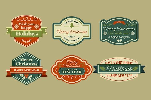 Coleção vintage de crachás de natal