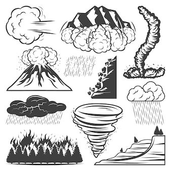 Coleção vintage de desastres naturais com tornado vulcão erupção tempestade chuva granizo tempestade deslizamento de terra avalanche incêndio florestal isolado
